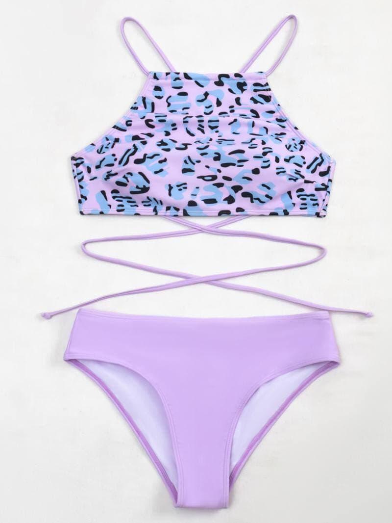 Женский лавандовый раздельный купальник с леопардовым принтом Lavender