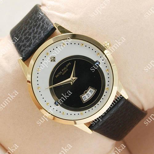 Молодежные наручные часы Patek Philippe Slim Gold/White-black 1906