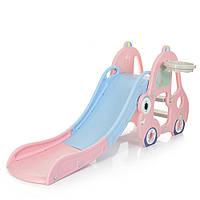 Дитяча ігрова гірка Машинка L-CC01-8, 165-68-75 см, баскетб. кільце, рожевий