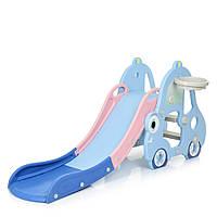 Дитяча ігрова гірка Машинка L-CC01-4, 165-68-75 см, баскетб. кільце, синій
