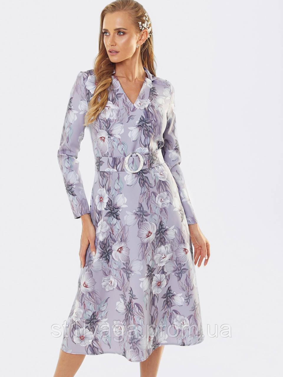 Расклешенное платье  длиной миди в мелкий цветочный принт