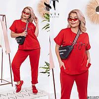 Яркий стильный прогулочный женский костюм тройка Штаны футболка шорты много расцветок Р-р 50-52,54-56,58-60