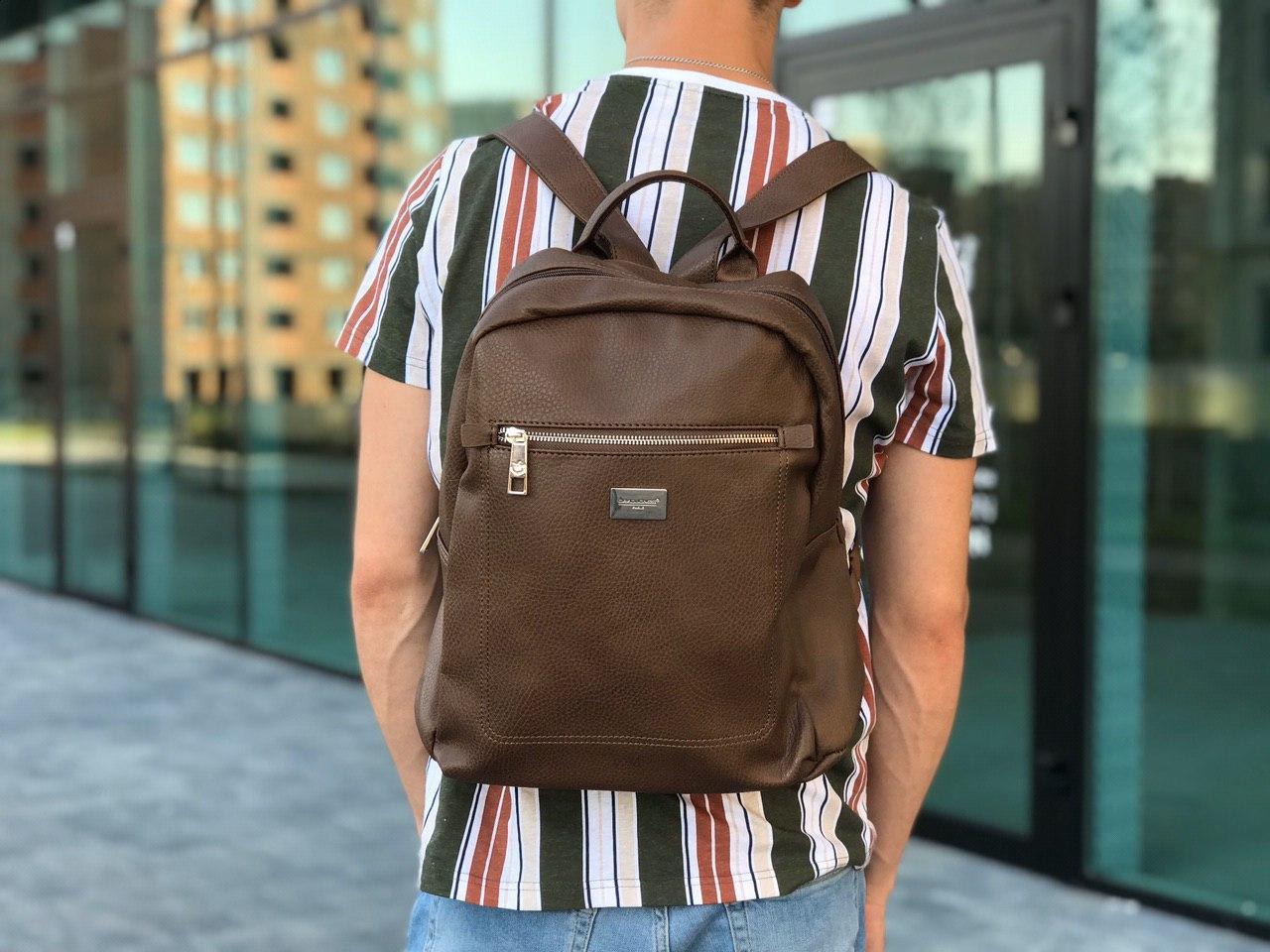 Кожаный рюкзак David Jones коричневый