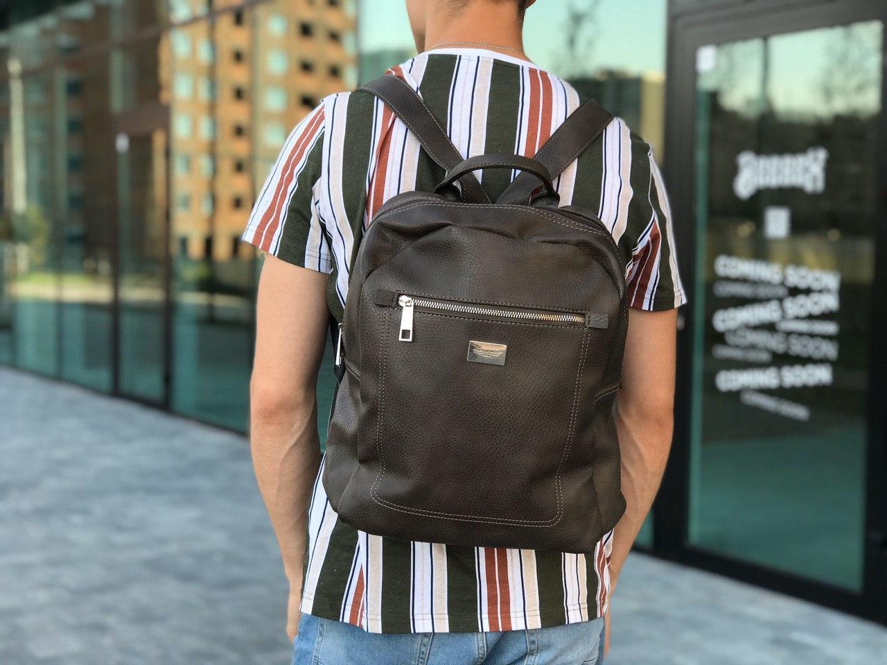 Шкіряний рюкзак David Jones сірий