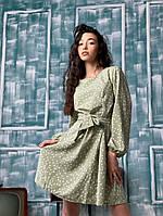 Женское платье стильное,Материал:Ткань - штапель ,с коротким рукавом в принт горох(46-46), фото 1