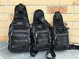Тактическая сумка через плечо черная, фото 2