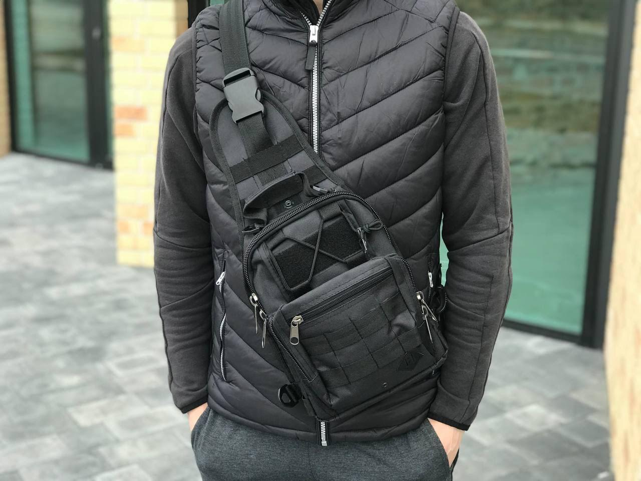 Тактична сумка через плече чорна