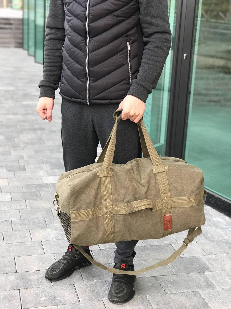 Брезентова дорожня сумка через плече