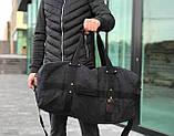 Брезентова дорожня сумка через плече чорна, фото 2