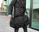 Брезентова дорожня сумка через плече чорна, фото 3