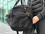 Брезентовая дорожная сумка через плечо черная, фото 4