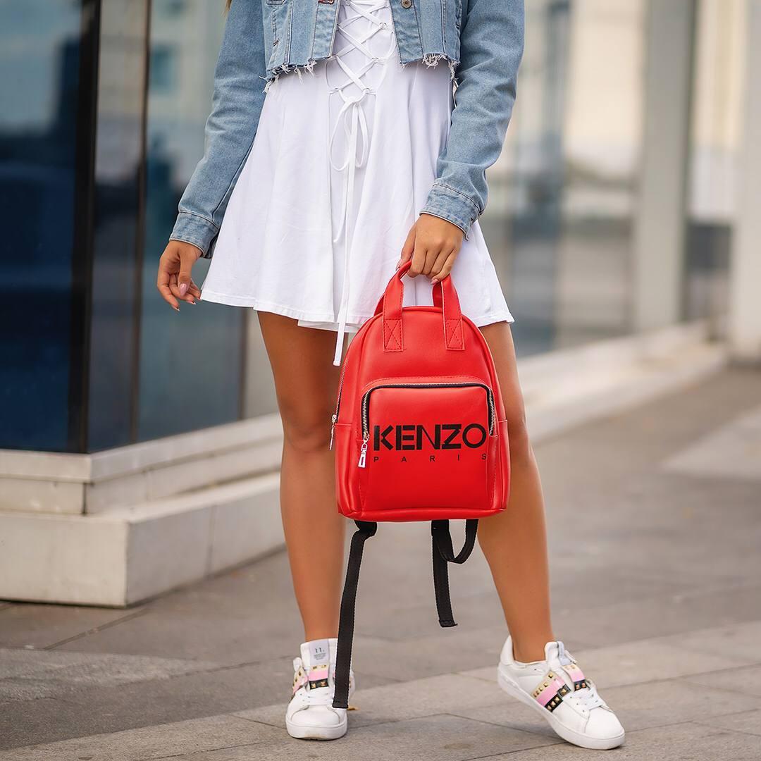 Красный женский кожаный рюкзак Kenzo