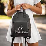 Чорний жіночий шкіряний рюкзак CK, фото 2