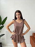 Піжама жіноча ніжна з шовку укорочений топ і шорти з високою посадкою з рюшами KXan13