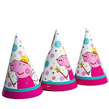 Колпачки детские праздничные свинка пеппа с волшебной палочкой 10 шт