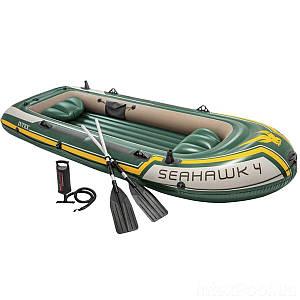 Четырехместная надувная лодка Intex 68351 Seahawk 4 Set, 351 х 145 см, с веслами и насосом, (Оригинал)