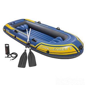Трехместная надувная лодка Intex 68370 Challenger 3 Set, 295 х 137 см, с веслами и насосом, (Оригинал)