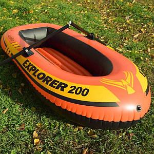 Полутораместная надувная лодка Intex 58331 Explorer 200 Set, 185 х 94 см, с веслами и насосом, (Оригинал)