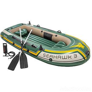 Трехместная надувная лодка Intex 68380 Seahawk 3 Set, 295 х 137 см, с веслами и насосом, (Оригинал)