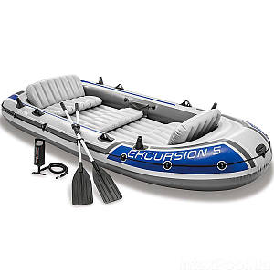 Пятиместная надувная лодка Intex 68325 Excursion 5 Set, 366 х 168 см, с веслами и насосом, (Оригинал)