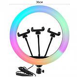 Кольцевая лампа для тик тока LED RGB MJ36 (36 см) 3 крепление Разноцветная кольцевая лампа Селфи кольцо RGB, фото 3