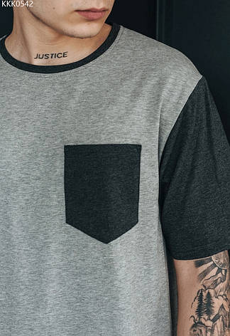 Футболка Staff pocket gray серый/тёмно-серый KKK0542 XS, 44, фото 2