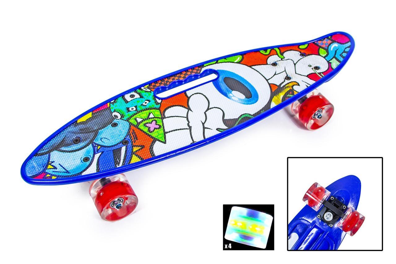 """Пенні борд скейт 22"""" колеса світяться ручка принт EYE"""