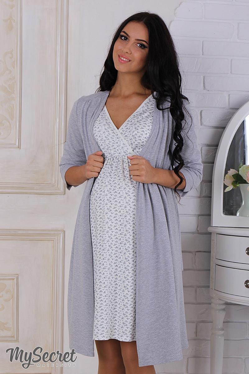 645f9977cd2a351 Комплект для беременных и кормящих мам, халат+ночнушка, серый меланж -  Интернет-