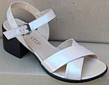 Кожаные босоножки на каблуке от производителя модель СФ21-202, фото 2