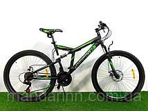 """Спортивный велосипед Azimut Dinamic 26 дюймов. Дисковые тормоза. Рама 18.5"""" Черно-салатовый. На рост 145-190см"""