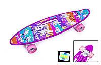 """Пенни борд скейт со светящимися колесами ручкой 22"""" принт Pony"""