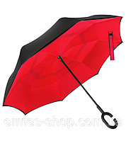 Зонтик автомат Umbrella Красный, зонт перевертыш, умный зонт наоборот.