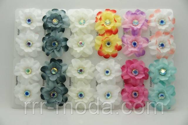 Разноцветные серьги цветы из ткани с камнями .687 - Бижутерия оптом «R. R. R.» в Одессе