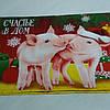 Готовое вафельное полотенце Новогоднее с двумя поросятами 33х58 см