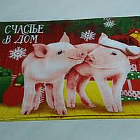 Готове вафельний рушник Новорічне з двома поросятами 33х58 см, фото 1