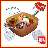 Сковорода фритюрница универсальная Copper cook deep square pan, антипригарная сковорода, сковорода пароварка
