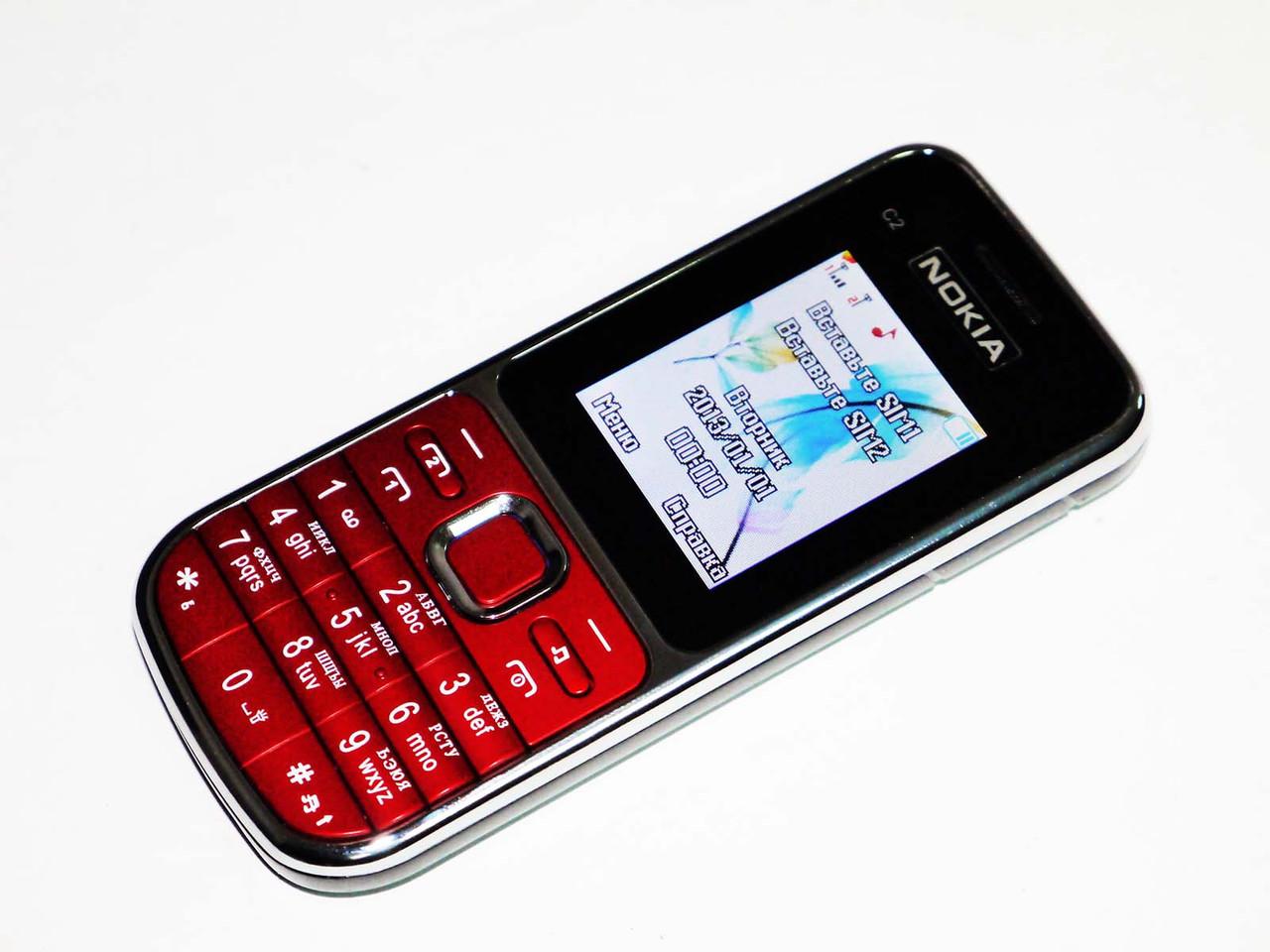 """Телефон Nokia C2 Красный - 2Sim+2""""+BT+camera+FM"""