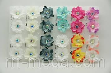Разноцветные серьги цветы из ткани с камнями .688