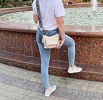 Кросс-боди Kiki с широким ремешком бежевая КИКИ2, фото 2