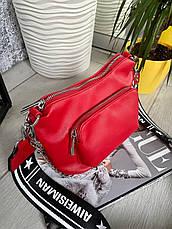 Крос-боді Kiki з широким ремінцем червона КИКИ4, фото 2