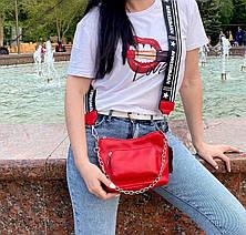 Крос-боді Kiki з широким ремінцем червона КИКИ4, фото 3