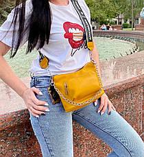 Кросс-боди Kiki с широким ремешком желтая КИКИ5, фото 2