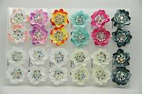 Серьги цветы из ткани с камнями бижутерия оптом .692