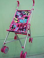 Коляска для кукол 9302, игрушечная коляска трость, розовая сердца
