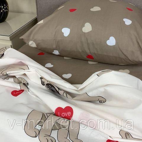 """Постельное белье белое """"Мопс"""" сатин евро размер, с увеличенной простыней 220/240 см, 100% хлопок"""