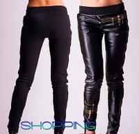 Женские черные кожаные легинсы с молниями