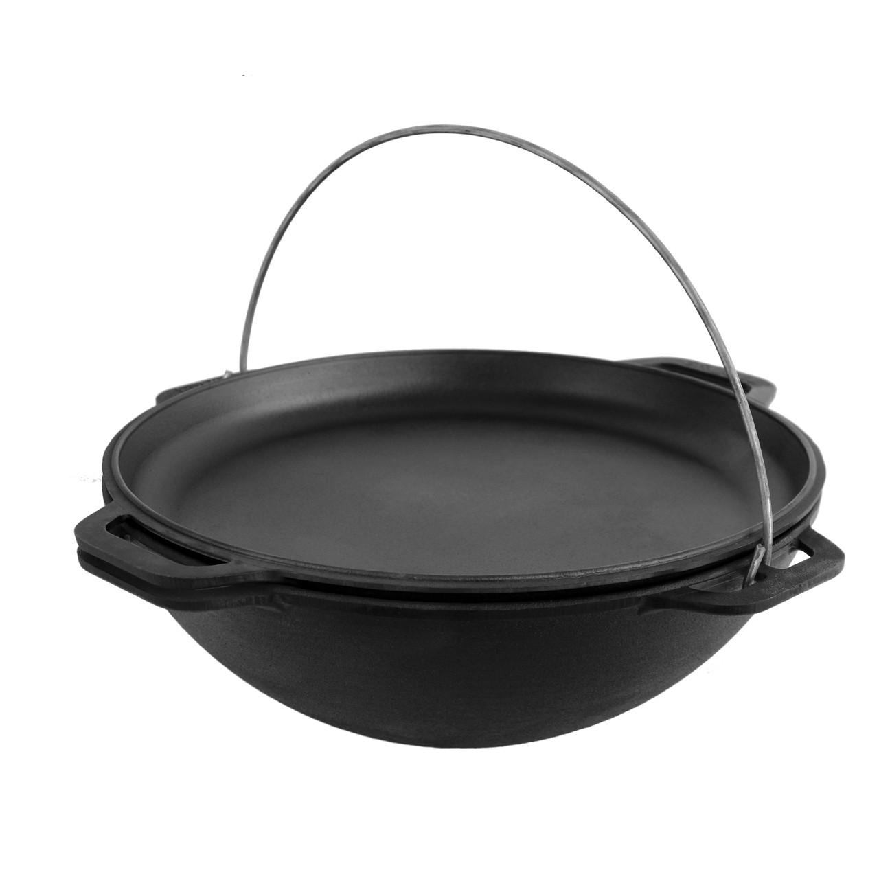 Казан чугунный азиатский Brizoll 12л с крышкой-сковородой Бризоль