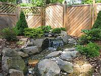 Ручей в саду. Такой ручей с водопадом Вы можете создать сами. Рассчитать и подобрать оборудование мы Вам поможем.