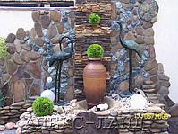 Фрагмен подпорной стены. Отделка природным камнем.