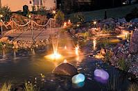 Пруд в вечернее время - завораживающее зрелище. Освещение для пруда, подсветка водных каскадов и фонтанов, подводные прожектора и светодиодные светильники - все это мы подберем для Вас.